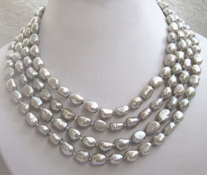 Jewellery hot ! Natural 7-9mm 68 south sea baroque gray pearl necklace 10X10 jewerly free shipping