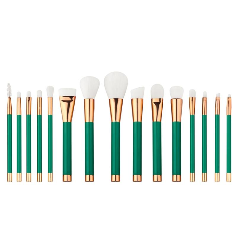 15pcs Green Makeup Brushes Set Professional Make Up Brush pincel maquiagem Beauty Blush Contour Foundation Powder Cosmetic Tools