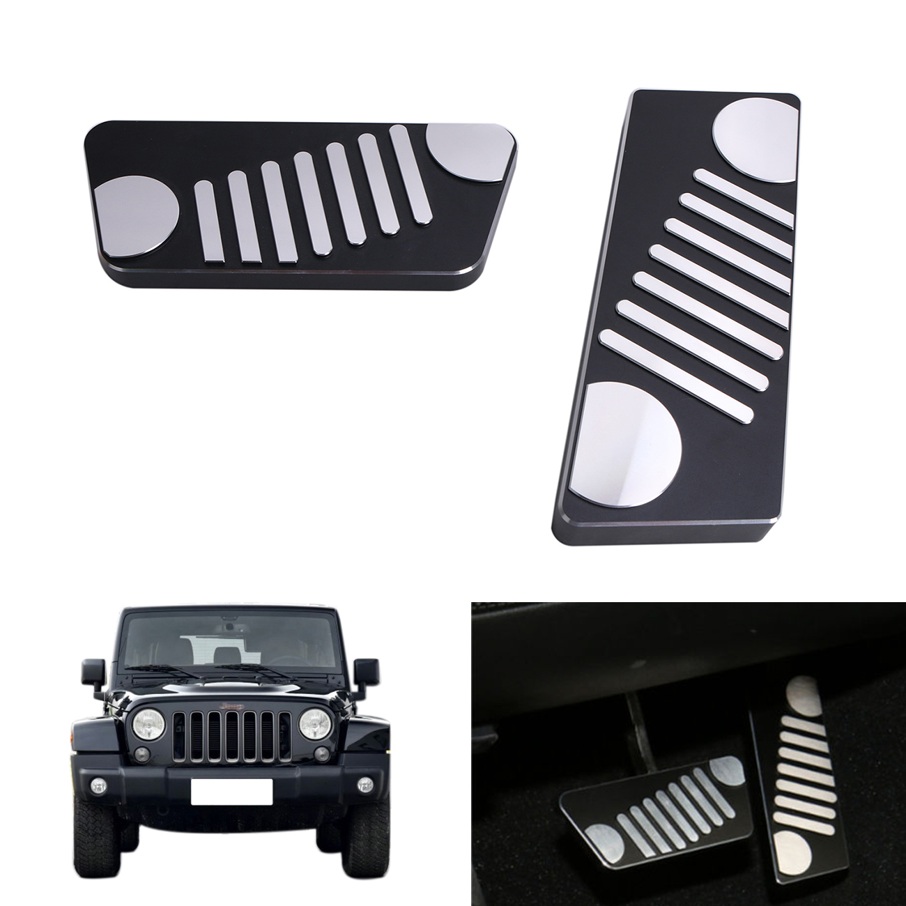 black aluminum alloy accelerator gas brake pedal kit for jeep wrangler jk rubicon sahara sport 2009 2016 left hand drive ce037 [ 1300 x 1300 Pixel ]