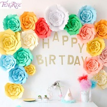 FENGRISE 30 40cm Paper Flower Backdrop DIY Crafts Artificial Flowers Wedding Event Birthday Party Decoration Supplies