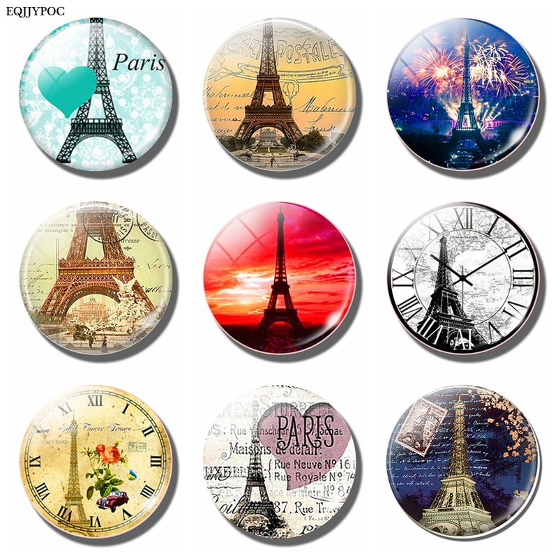 3PCS/SET Eiffel Tower, <font><b>Paris</b></font>, France Fridge Magnet 30MM Round Glass Cabochon Refrigerator Magnetic Holder Home Decoration image