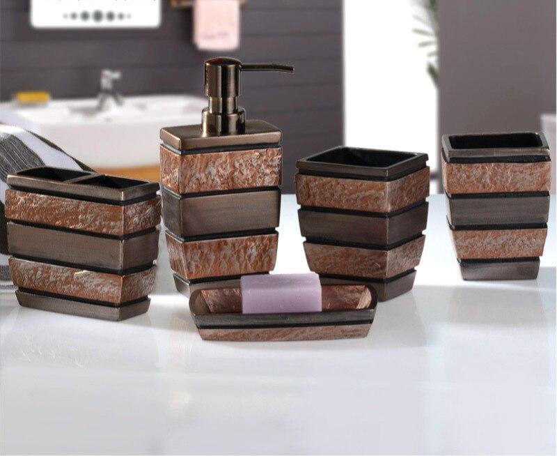 5 sztuk/zestaw Retro ameryka styl dostaw łazienka mycia zestaw kreatywny żywicy naśladować akcesoria łazienkowe zestaw prezent ślubny w Zestawy akcesoriów łazienkowych od Dom i ogród na  Grupa 1