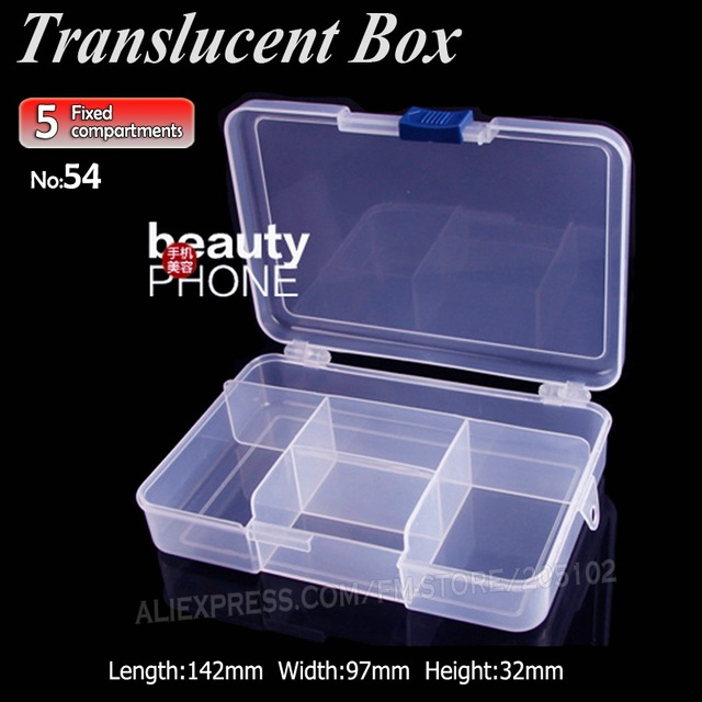 Translucent Box 5 fixed compartments for DIY Nail Art Accessory