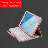 Wireless Bluetooth Keyboard +PU Leather Cover Protective Smart Case For Samsung Galaxy Tab A 9.7 T550 T555 P550 P555