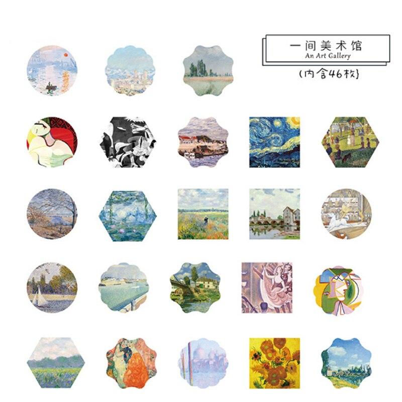 Купить с кэшбэком 46Pcs/box painting Art gallery Mini Decoration Paper Sticker DIY Scrapbook seal  Sticker Stationery Kawaii Stickers stationery