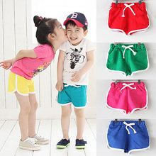 Summer Cheap Casual Girls/Boys Shorts Kids Trousers Baby Toddlers Clothes sweet colour shorts boys seaside pants childrens shorts