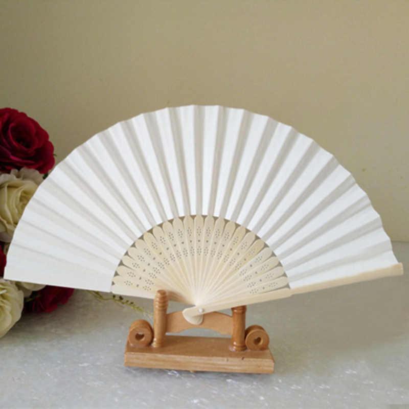 Abanicos chinos de papel de mano plegables de bambú para boda DIY Favor de fiesta señoras baby shower regalo de cumpleaños decoración