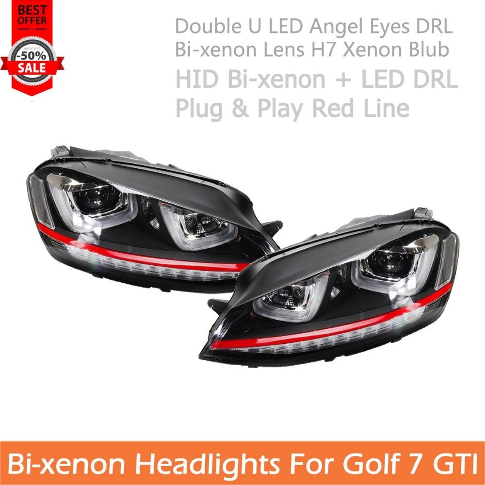 For VW Golf 7 Headlights Car Styling For Golf 7 GTI Double U LED Angel Eye DRL Bi-xenon Projctor H7 Xenon Blub Red Line Headlamp