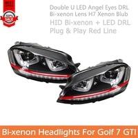 For VW Golf 7 Headlights Car Styling For Golf 7 GTI Double U LED Angel Eye DRL Bi xenon Projctor H7 Xenon Blub Red Line Headlamp
