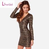 2016 Autumn Black Gold Sequin Dress Bodycon Short Women Long Sleeve Mini Dress Sexy Club Wear
