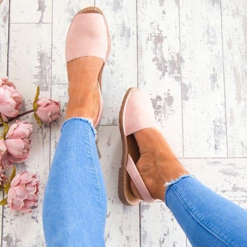 Summer Sandals Footwear Flat-Shoes Low-Heel Slip-On Faux-Suede Plus-Size Peep-Toe Woman
