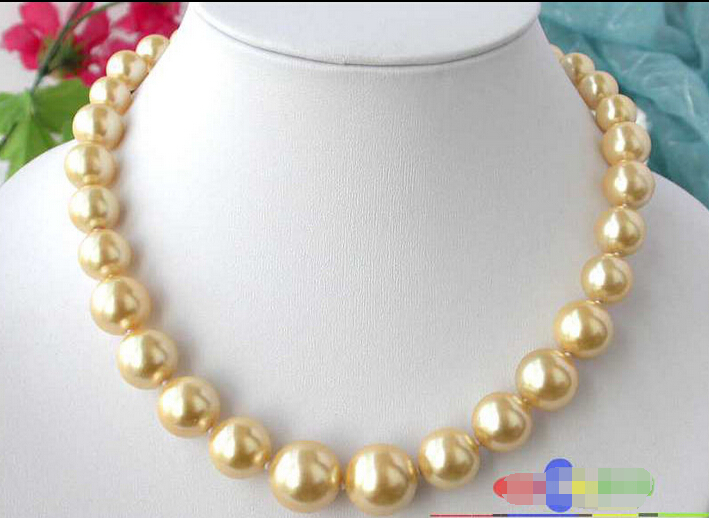 fb828597b88f Envío gratis         17 16 MM oro redondo mar del sur de concha de perla  collar de la torre p1293