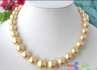 Free shipping@@@@@ 17 16MM GOLD ROUND SOUTH SEA SHELL PEARL TOWER NECKLACE p1293