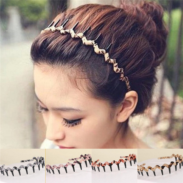 2018 Women Korean Style Leopard Dense Tooth Toothed Wave Shaped Hair Band  Hair Hoop Hair Accessories 958dd5667c4