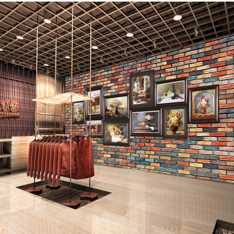 Custom photo wallpaper Classical painting wall brick wall mural mall corridor clothing shop restaurant wallpaper