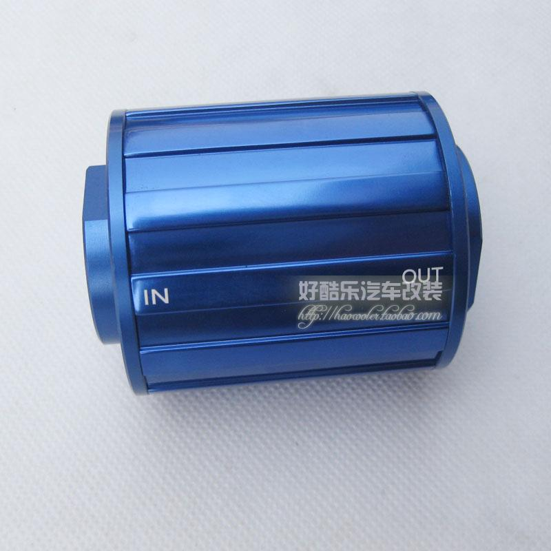 UNIVERSAL BILLET RE USABLE OIL FILTERS IN/OUT LET AN8 LENGTH 70MM  BLUE filter filter oil  - title=