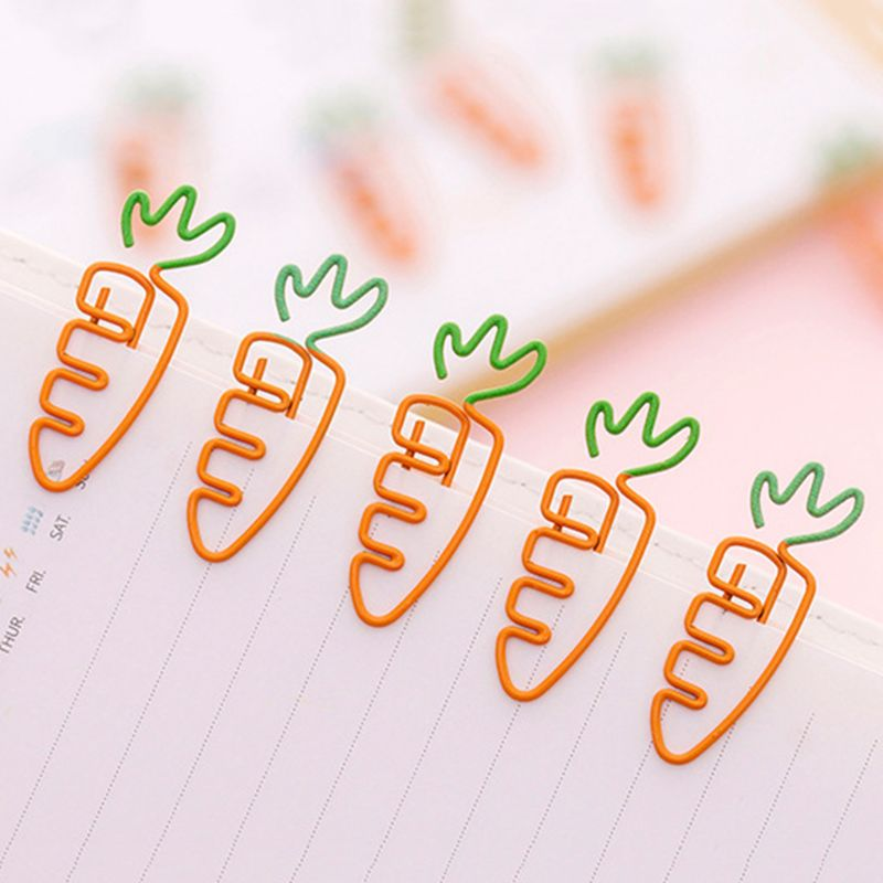 6pcs Creative Kawaii Carrot Shaped Metal Paper Clip Pin Bookmark Stationery School Office Supplies Decoration 10166