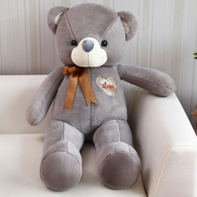 huge 140cm gray teddy bear plush toy ,silk belt bear doll hugging pillow Valentine's Day,birthday present Xmas gift c660