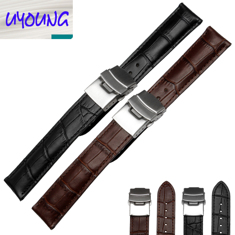 Leather watch band Watch accessories Men and women adaptation Folding buckle 18mm 19mm 20mm 22mm