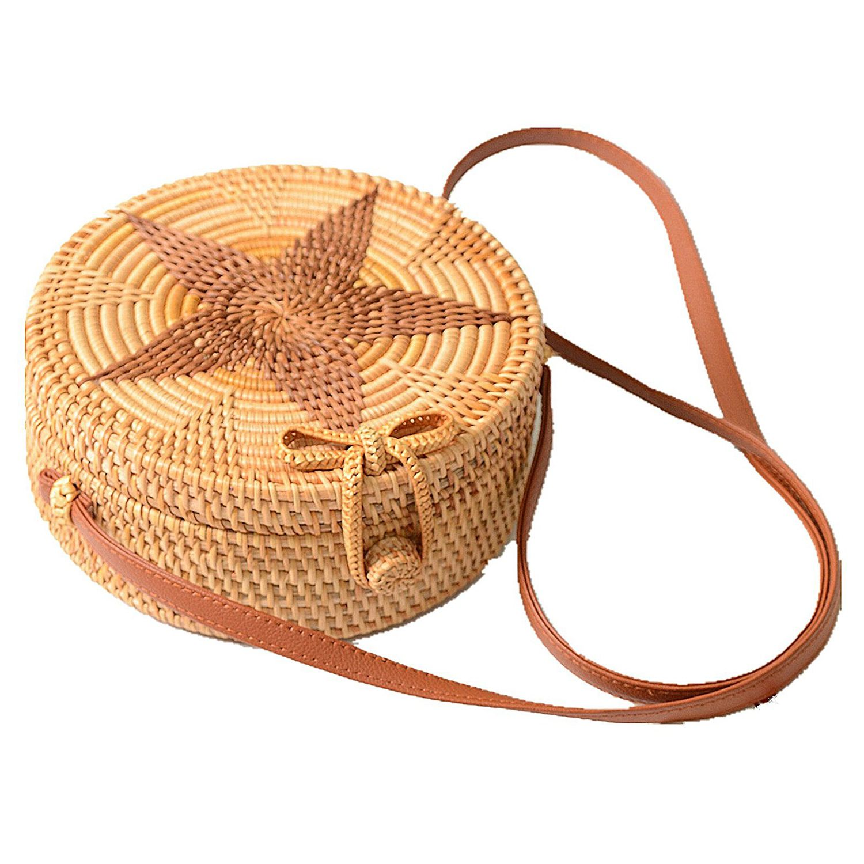 ABDB-Women Round Weave Braid Woven Rattan Basket Bag Leather Style Straps Summer Beach Shoulder Bag Darker Star