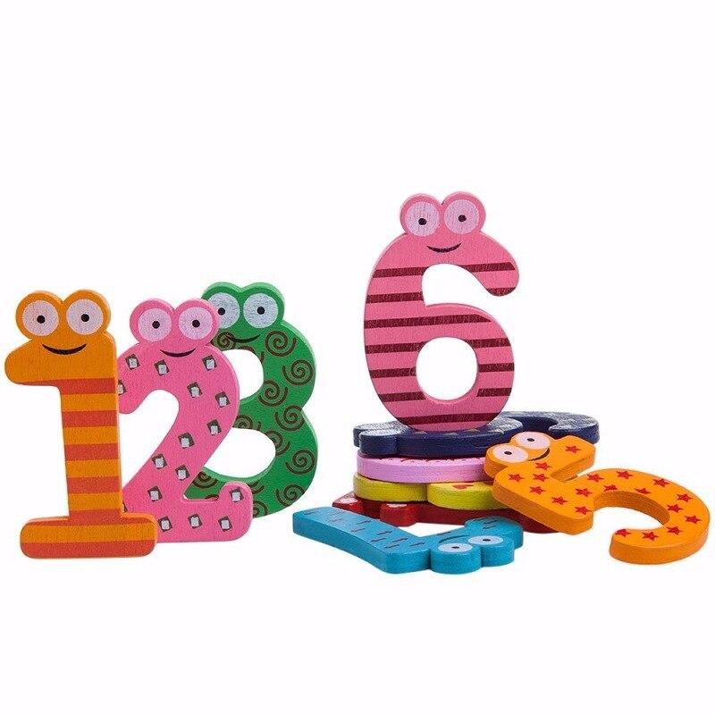 Fridge Refrigerator Mathematics Magnetic-Figure-Stick Montessori 10pcs/Set Toys Wooden