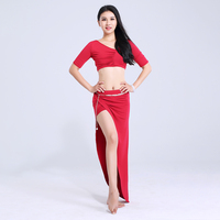 Belly Dance Costume Short Sleeve Top Long Skirts Oriental Dancing Costumes Women Training Clothes Adult Bellydance Wear DNV10763