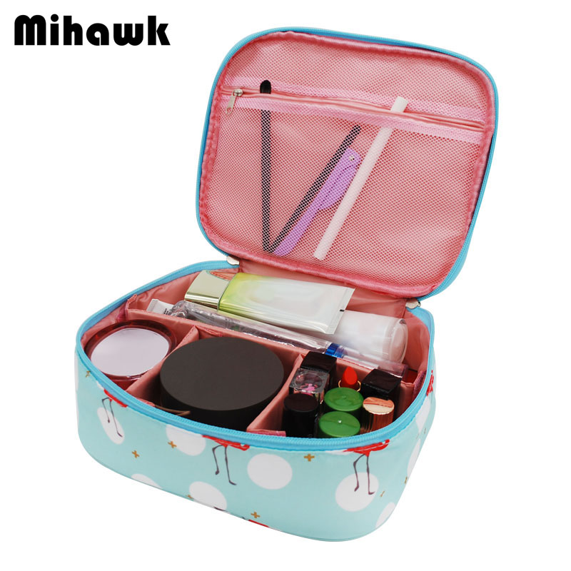 Mihawk Cartoon Cute Flamingo Cosmetic Bag Fashion Women's Travel Necessary Markup Pouch Storage Organizer Accessories Supplies solid color fashion cosmetic bag ladies portable travel necessary markup pouch storage beauty tools accessories supply products