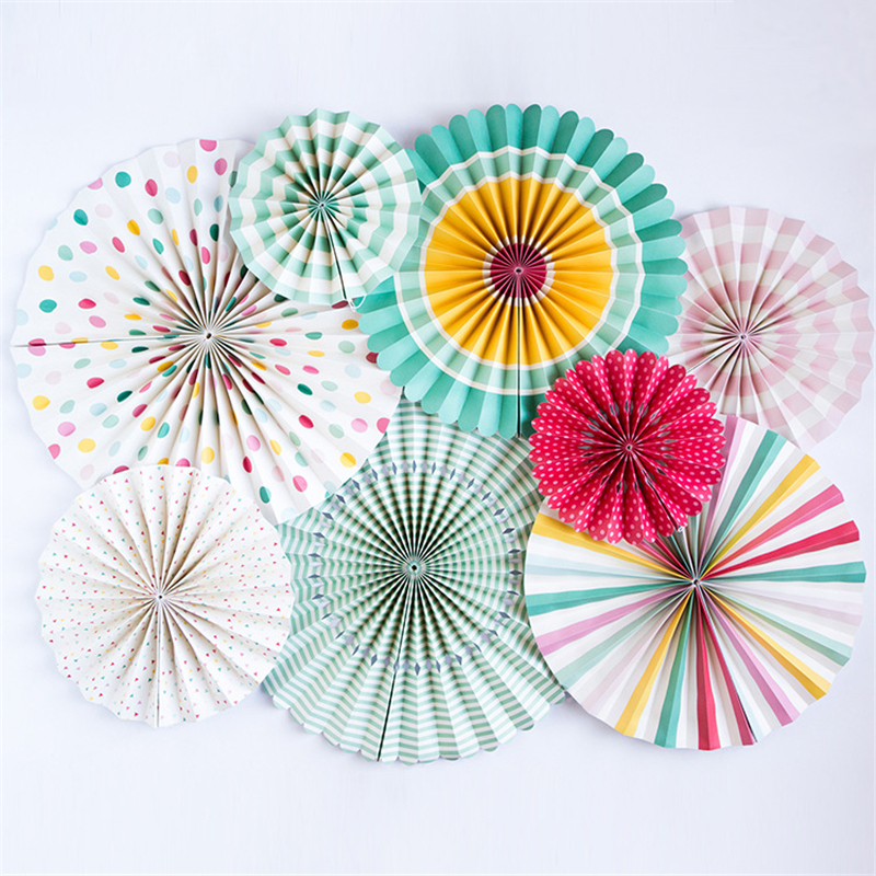 HAOCHU 8pcs Set Colorful Wheel Tissue Paper Fan Flower Balls For Wedding Party Decoration Birthday