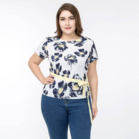 2018 Summer T Shirt Large Sizes Women T Shirt Print O Neck Short Sleeve Rounded Hem