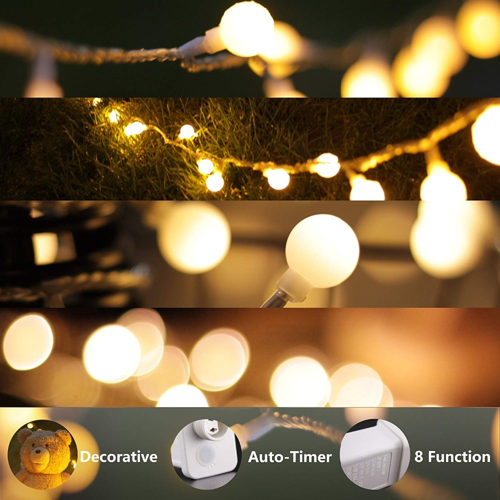 10m 100led String Ball Lights Christmas Fairy Flasher 200w Lamp Led Strip Sphere Lighting For Wedding Party Garland In From