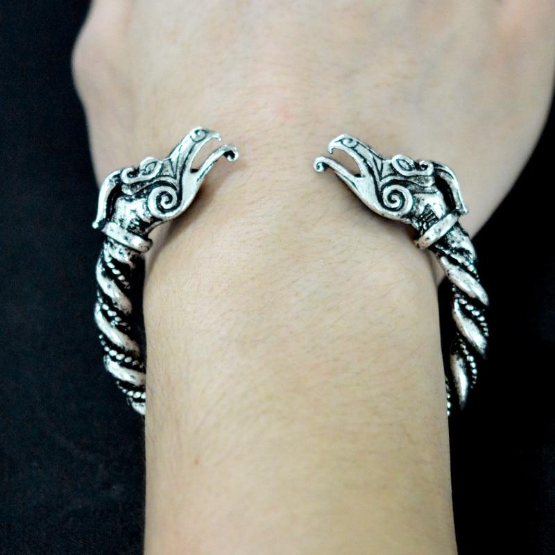Bangle & bracelet Ancient silver color dragon head open bangle  1