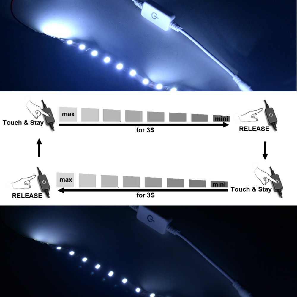 Ściemniacz LED dotykowy przełącznik jasności z DC żeński wtyk męski na jednokolorowa taśma LED lampa DC 12 V-24 V 3A czarny/biały