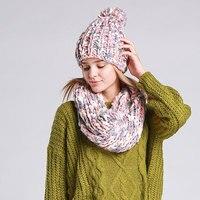 Высокое качество трикотажа зима теплая шапка и шарф комплект для Для Женщин Девочек шапочки толстые женские капот шарф комплект Для женщин ...