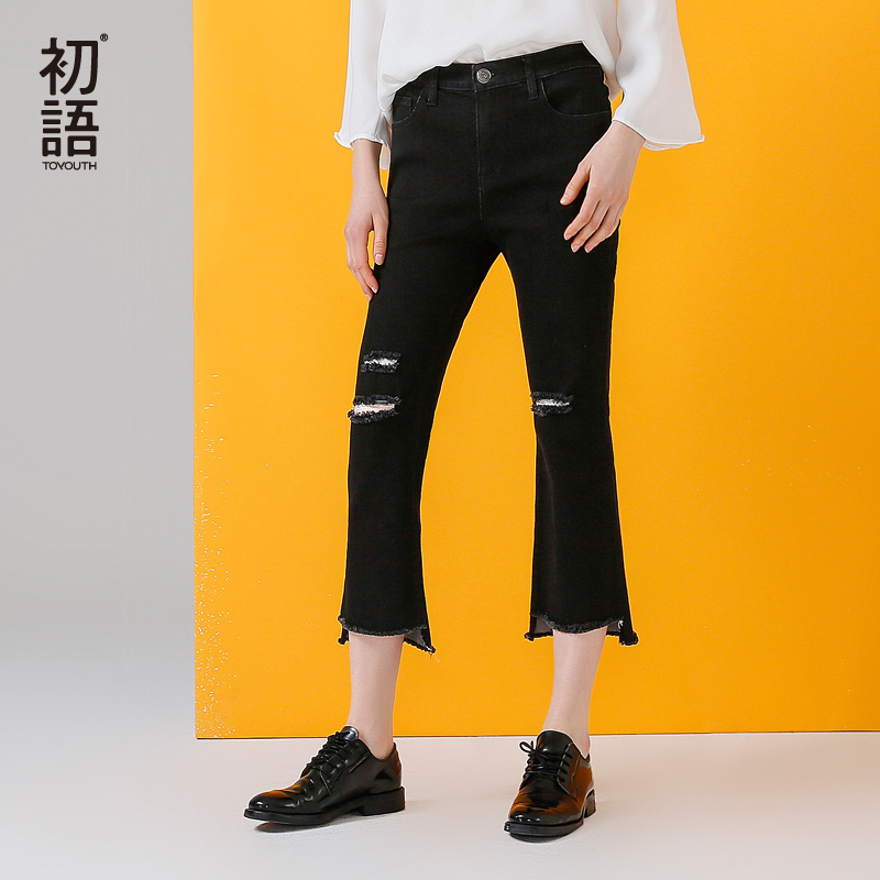 Toyouth Jeans 2017 Autumn Women Fashion Hole Black Color Calf-Length Trousers Casual Flare Pants mens overalls fashion 2017 spring and autumn fashion new products straight splicing hole jeans personality street trousers c165