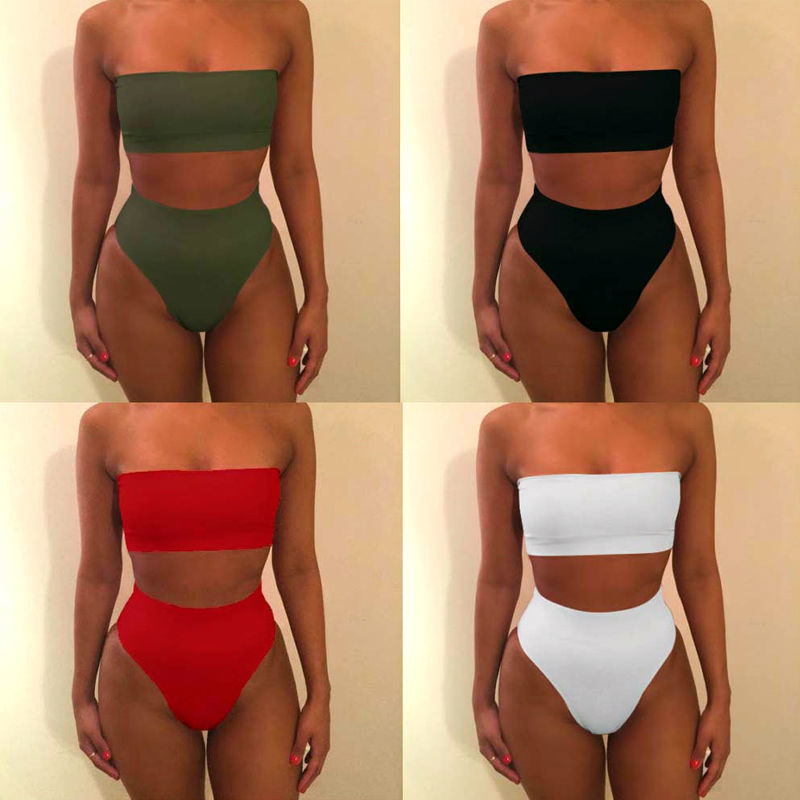 2017 Solid Sexy High Waist Bikini Bandeau Women Swimwear Biquinis Feminino Swimsuit Swim Suit Bathing Beach Wear Maillot De Bain high quality women sexy bikini swimwear bandeau swimsuit bikinis set biquinis zebra swimming suit yellow hollow out maillot de b