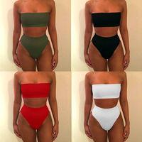 2017 Solid Sexy Bandeau Biquinis Feminino Bikini Women Swimwear Swimming Suit High Waist Bathing Beach Wear