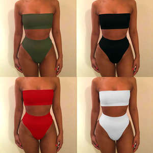 cf60f9c8e17 Tube Top Plus Size Swimwear Bathing Suit 2018 Solid Sexy High Waist Swimsuit