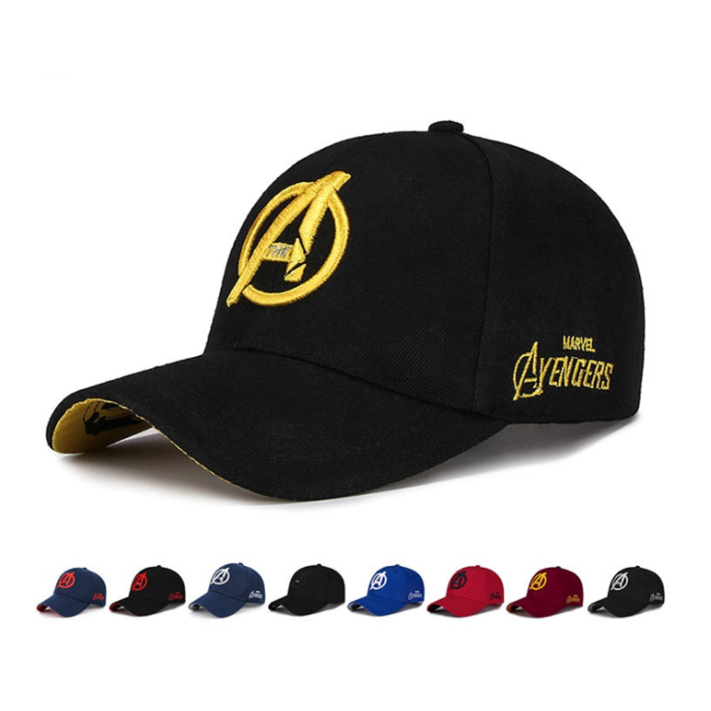 Yo-Young Unisex Marvel Avengers LOGO Embroidery Casual Outdoor   Baseball     Caps   For Men Snapback   Caps   For Adult Sun Hat