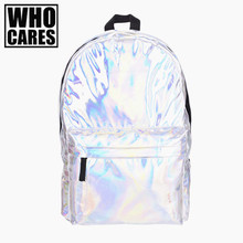 Leather quality laptop backpack women Hologram Backpack For School Student Women s Laser Silver Color Holographic