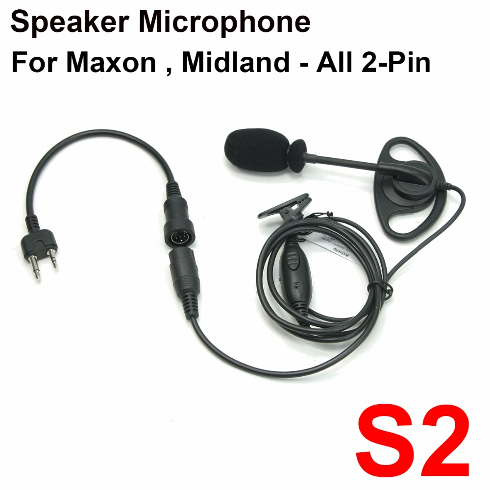 D Ring Ear Hanger Boom Mic Microphone + Mini Din Plug For Midland -  All 2-Pin GTX-325, GTX-400, GTX-444, GTX-450, G-225, G-227