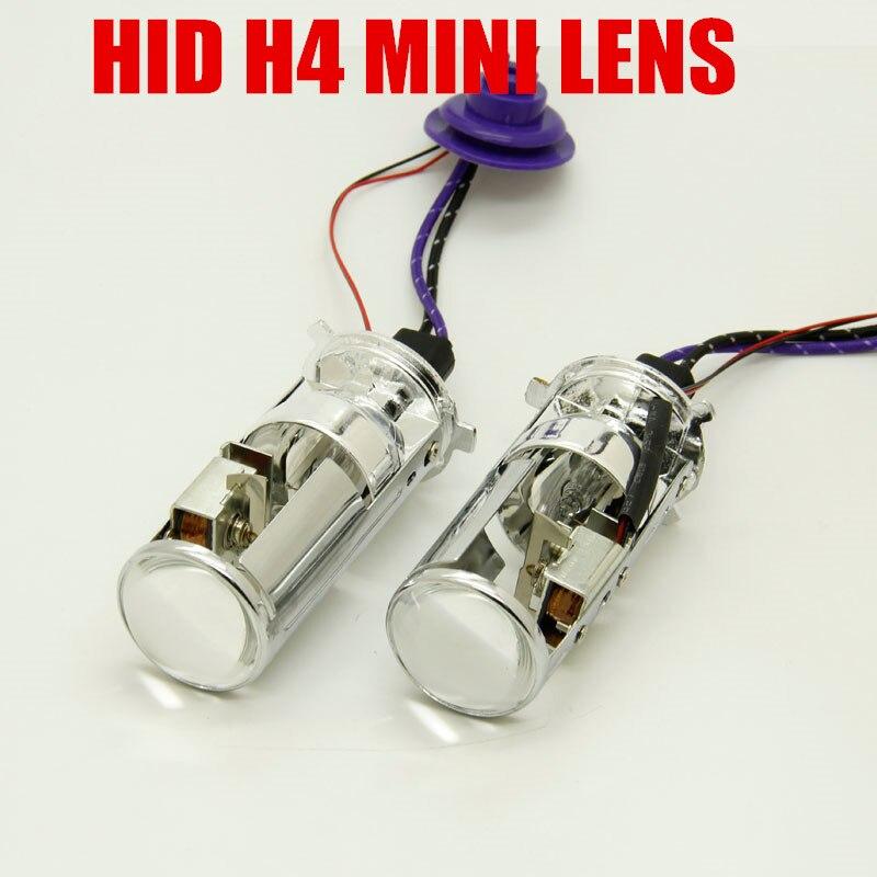 1 paire 55 W lampe H4 Mini projecteur lentille H4 salut lo faisceau bixenon automobiles ampoule