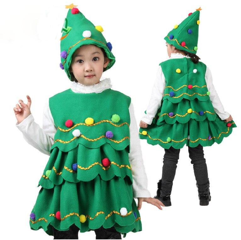 Christmas Tree Dress Costume: Girl's Winter Thick Christmas Tree Dress Kid Princess