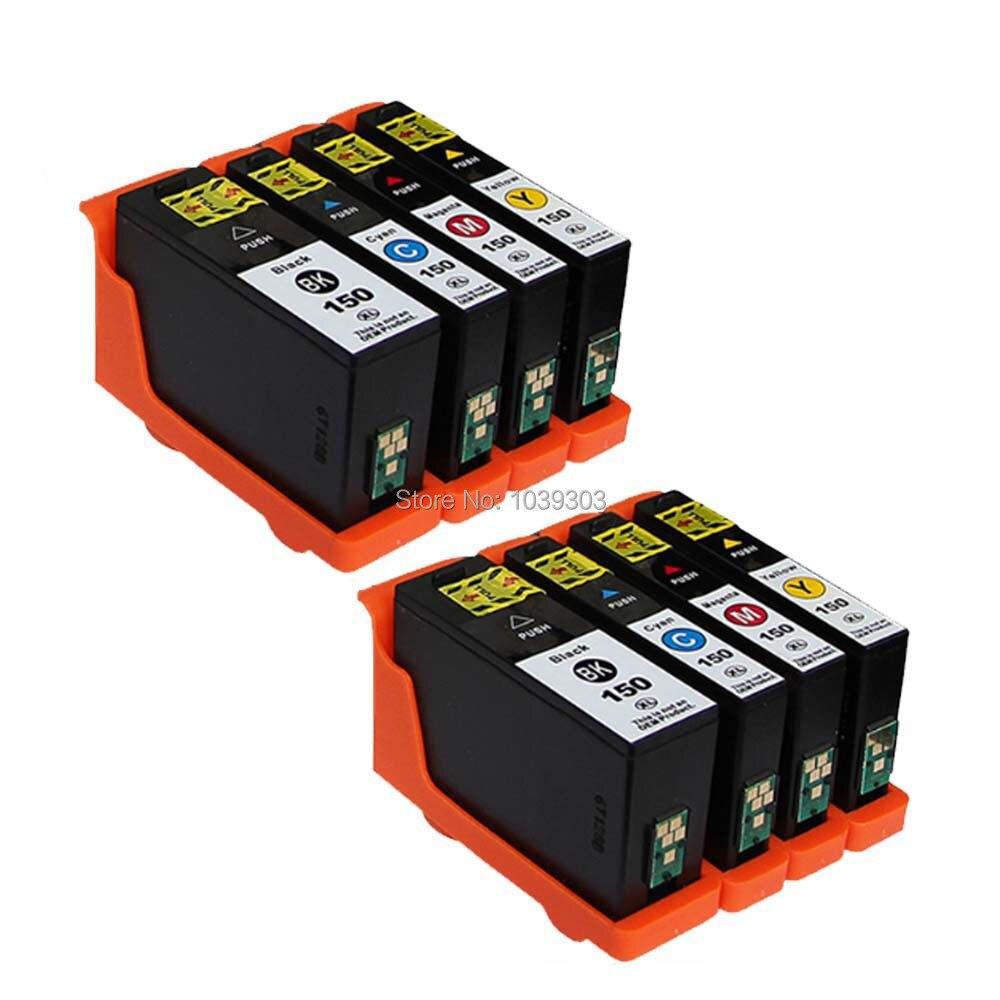 8PCS Compatible XL Ink cartridges LEXMARK No. 150 XL BK/C/M/Y for LEXMARK S315  S415  S515  Pro715  Pro915 printer
