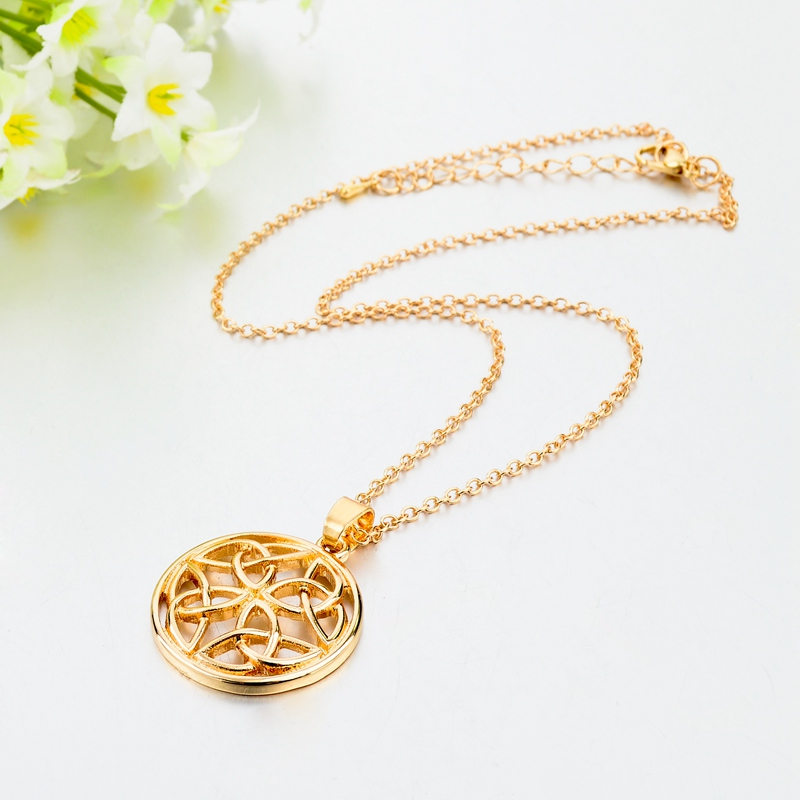 LongWay Necklaces women Luxury Gold Color Hol Round Fer Necklaces & Pendants For Women Wedding Anniversary Jewelry SNE160003103