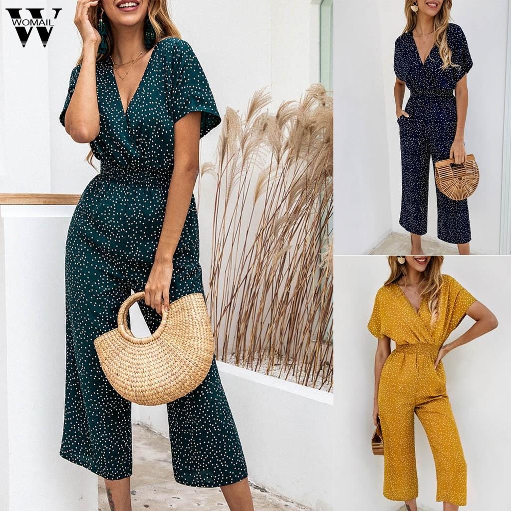 Womail Bodysuit Women Summer Casual Dot Printing V Neck Short Sleeve Jumpsuit Clubwear Wide Leg Jumpsuit Fashion Romper2019 M524