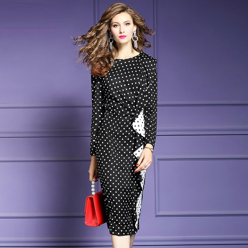2019 new Spring summer Lady Package hip printing Dot dress Women Pencil Party Dress Plus Size