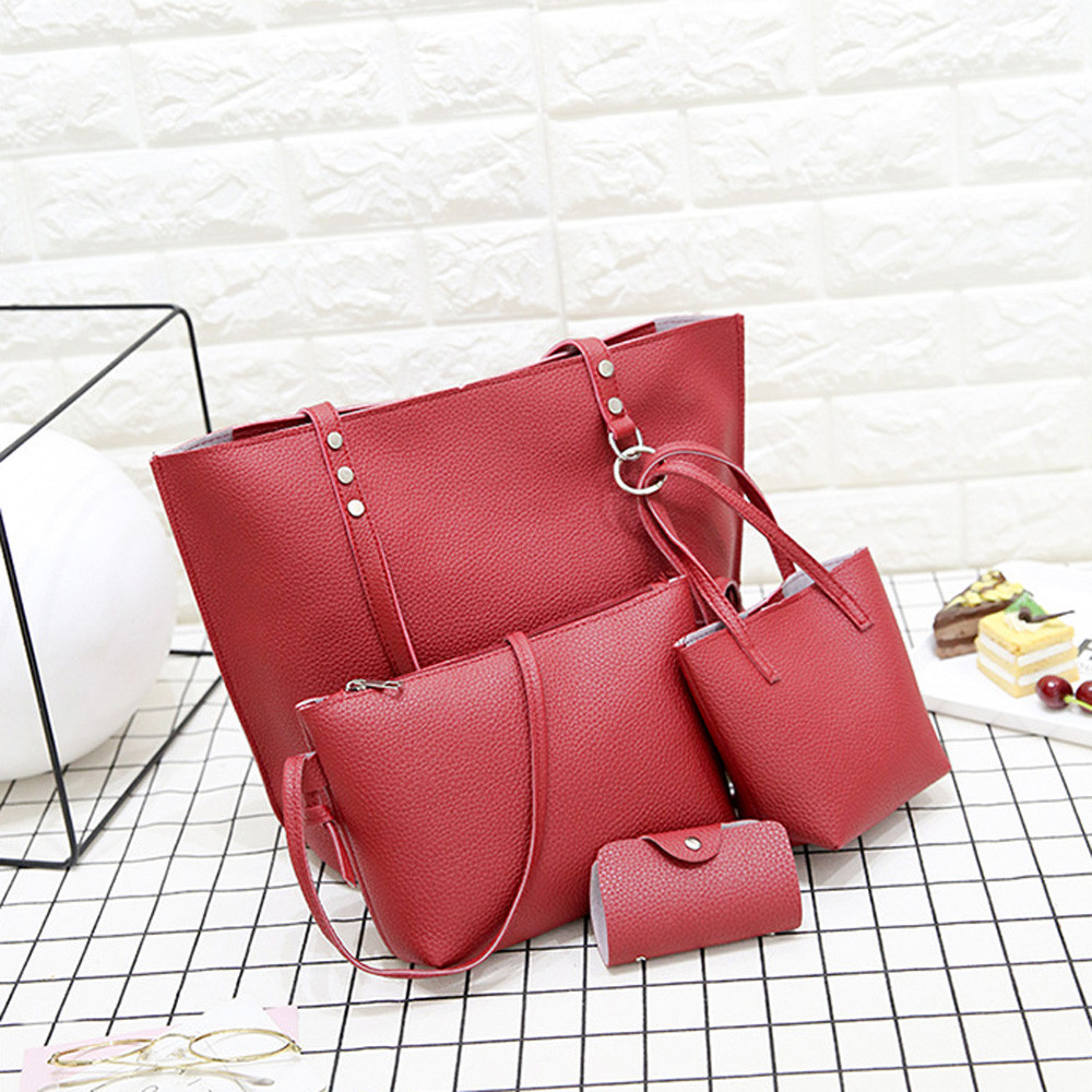 4Pcs Women Pattern Leather Handbag+Crossbody Bag+Messenger Bag+Card Package Solid Zipper Elegant Ladies Handbags Set Wallet