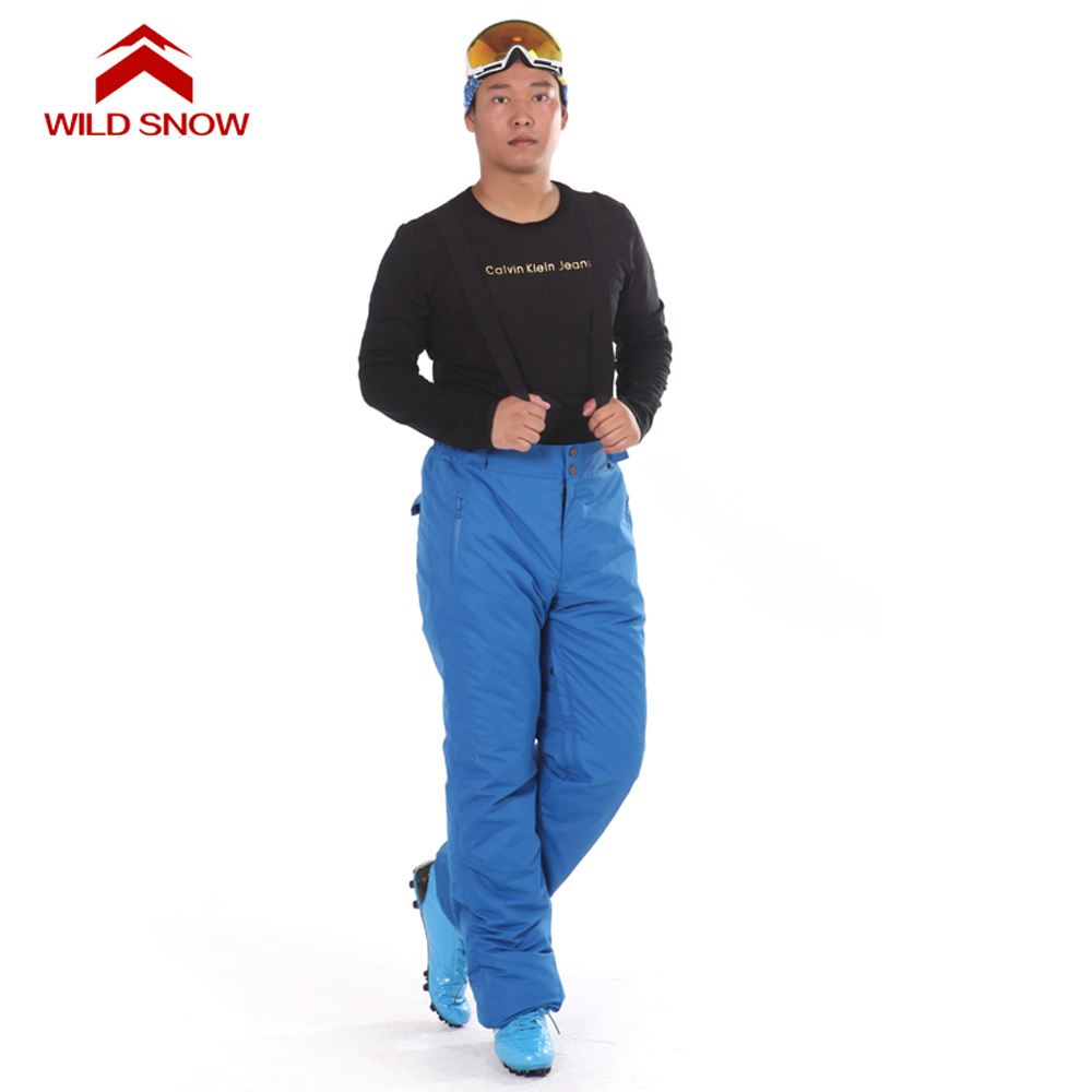WILD SNOW 2017 Men Sking Pants Winter Warm Double Layer Waterproof Windproof Trousers Ski Snowboard Snow Suspenders Pants PYP816 denim suspenders for ski pants men waterproof snow pants ski trousers thick warm breathable jean snowboard pants plus size s 3xl
