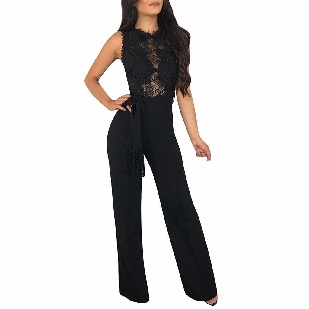 JAYCOSIN Yaz Kadın Moda Seksi Kısa Kollu Dantel Tulum Clubwear Patchwork Düz Bacak Tulum Kemer Ile Mar14 P30