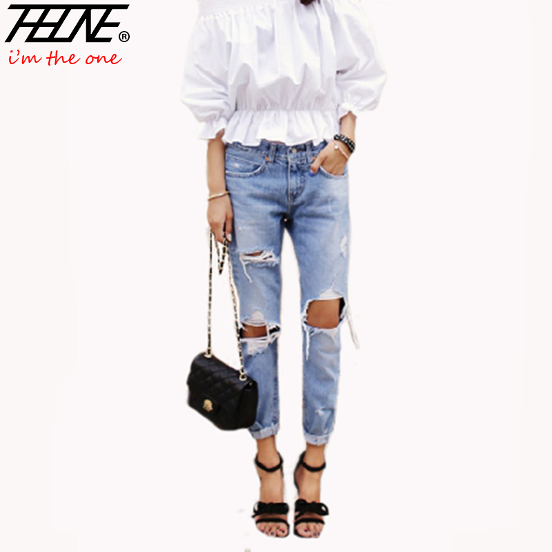 Autumn New Fashion Cotton Jeans Women Loose Low Waist Washed Vintage Big Hole Ripped Long Denim